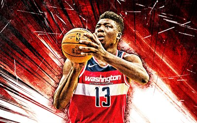 4k, Thomas Bryant, grunge konst, Washington Wizards, NBA, basket, Thomas Jermaine Bryant, USA, Thomas Bryant Washington Wizards, röda abstrakta strålar, Thomas Bryant 4K