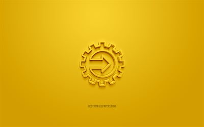 Gear with arrow 3d icon, yellow background, 3d symbols, Gear with arrow, creative 3d art, 3d icons, Gear sign, Business 3d icons