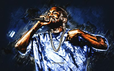 Kanye West, american rapper, portrait, blue stone background, american singers