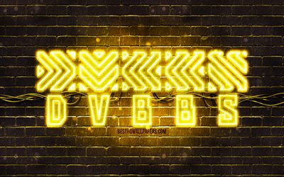 DVBBS yellow logo, 4k, Chris Chronicles, Alex Andre, yellow brickwall, DVBBS logo, canadian celebrity, DVBBS neon logo, DVBBS
