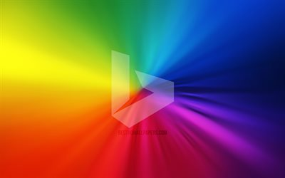 Bing logo, 4k, vortex, rainbow backgrounds, creative, artwork, brands, Bing