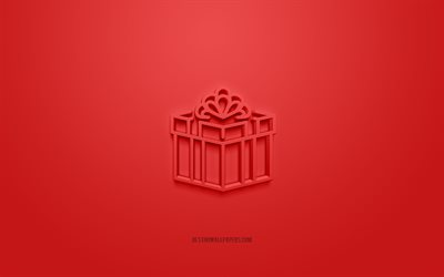 Gift box 3d icon, red background, 3d symbols, Gift box, creative 3d art, 3d icons, Gift box sign, Christmas 3d icons