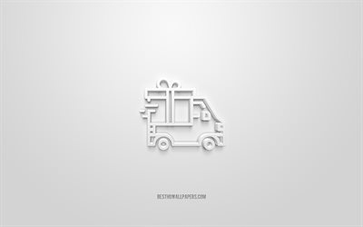 Delivery 3d icon, white background, 3d symbols, Delivery, creative 3d art, 3d icons, Delivery sign, Business 3d icons