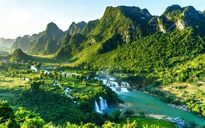 Ban Gioc Falls, Quay Son River, morning, sunrise, mountain landscape, waterfall, Vietnam, Guangxi