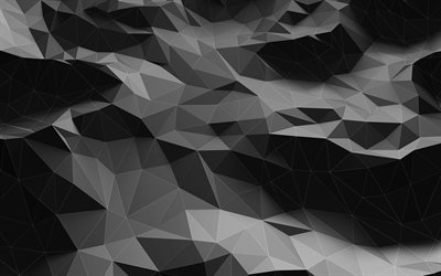black geometric shapes, 4k, geometric patterns, wavy backgrounds, 3D figures, black 3D background, 3D geometric textures, background with waves, waves textures