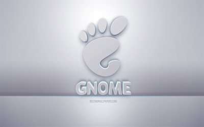 GNOME 3d white logo, gray background, GNOME logo, creative 3d art, GNOME, 3d emblem
