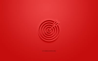 Goal 3d icon, red background, 3d symbols, Goal, creative 3d art, target with arrow, 3d icons, Goal sign, Business 3d icons, target 3d icon