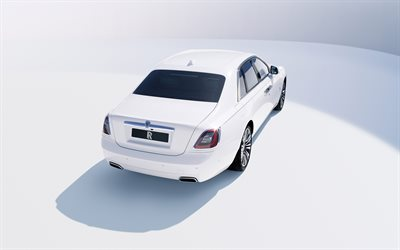 Rolls-Royce Ghost, 2021, 4k, rear view, exterior, white luxury sedan, new white Ghost, British cars, Rolls-Royce