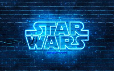 Star Wars blue logo, 4k, blue brickwall, Star Wars logo, creative, Star Wars neon logo, Star Wars