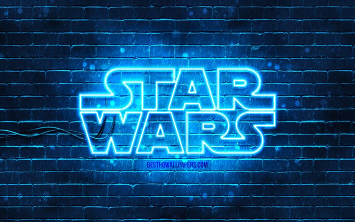 Star Wars logo blu, 4k, blu, brickwall, logo di Star Wars, creativo, Star Wars neon logo di Star Wars