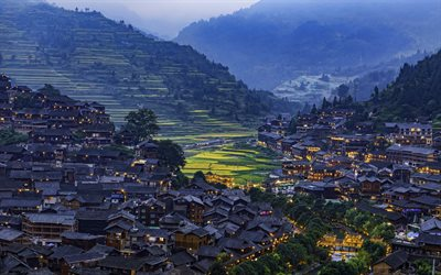 Xijiang Qianhu Miao Village, 4k, evening, cityscapes, Kaili, Guizhou, China, Asia, chinese cities