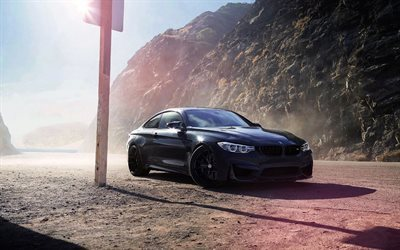 Bmw M4, F82, black bmw, tuning M4, sports coupe, BMW