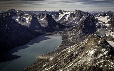 Greenland, bay, rocks, mountains, coast