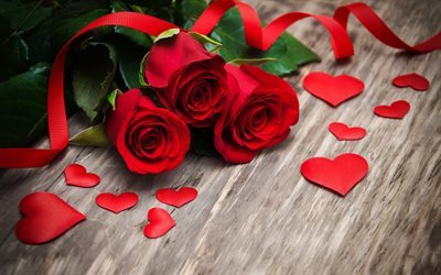 red roses, red hearts, Valentines Day, rose petals