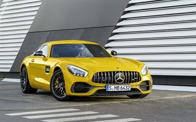 Mercedes-AMG GT, 2017, yellow Mercedes, sports car