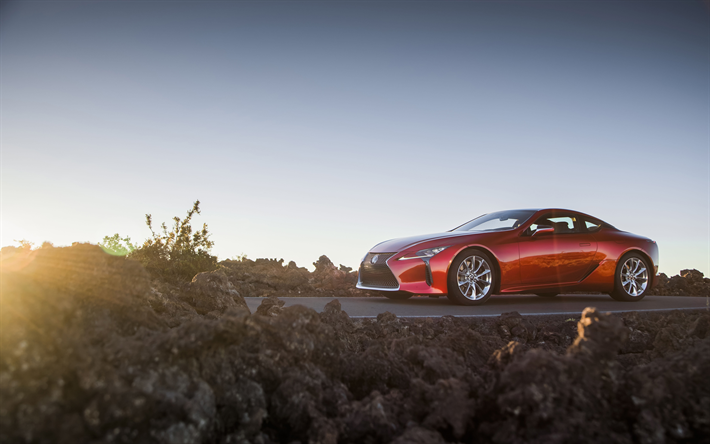 Download Wallpapers Lexus LC500, 2018, 4k, Red Sports
