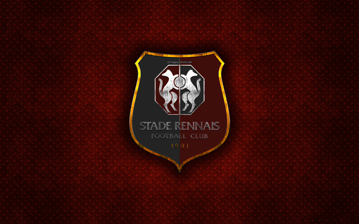 Download wallpapers stade rennais fc french football club red metal texture metal logo - Stade rennais logo ...