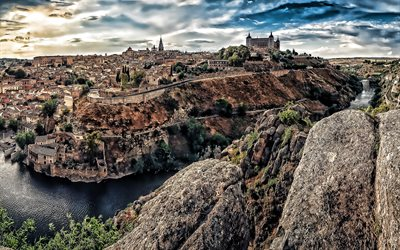 Toledo, HDR, sunset, river, Toledo Castle, Spain, Europe