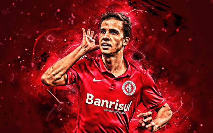Nilmar, close-up, brazilian footballers, Internacional FC, goal, Nilmar Honorato da Silva, soccer, Brazilian Serie A, football, neon lights, Brazil, Nilmar Internacional