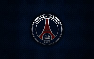 Paris Saint-Germain, PSG, French football club, blue metal texture, metal logo, emblem, Paris, France, Ligue 1, creative art, football