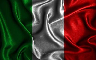 Italian flag, 4k, silk wavy flags, European countries, national symbols, Flag of Italy, fabric flags, Italy flag, 3D art, Italy, Europe, Italy 3D flag