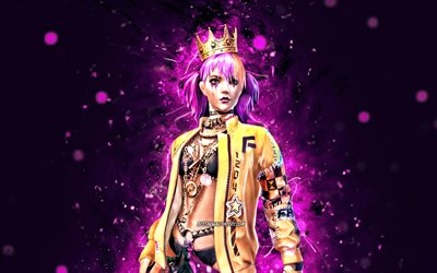 Queen Boxer, 4k, violet neon lights, 2021 games, Free Fire Battlegrounds, Garena Free Fire characters, Queen Boxer Skin, Garena Free Fire, Queen Boxer Free Fire