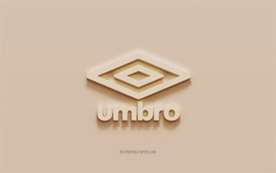 Umbro logo, brown plaster background, Umbro 3d logo, brands, Umbro emblem, 3d art, Umbro