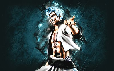 Grimmjow Jaegerjaquez, Bleach, blue stone background, Bleach characters, Grimmjow character, Grimmjow Bleach