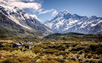 Mount Cook National Park, 4k, valley, summer, Aoraki, South Island, New Zealand, HDR, beautiful nature, mountains
