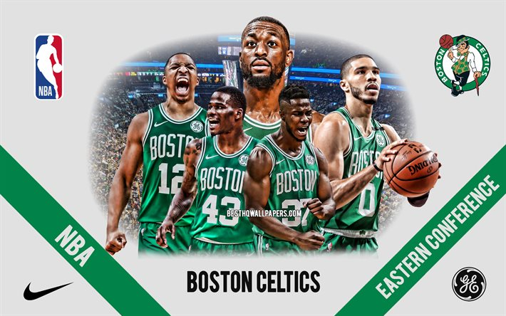 Boston Celtics, NBA, American Basketball Club, Green Stone Background, Basketball, USA, Boston Celtics Logo, Kemba Walker, Jayson Tatum, Semi Ojeleye, Javonte Green, Grant Williams