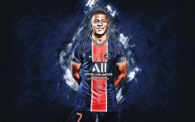 Kylian Mbappе, PSG, portrait, French footballer, PSG 2021 uniform, Paris Saint-Germain, France, football