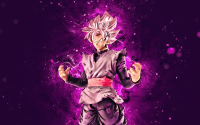 Black Goku, 4k, violet neon lights, Dragon Ball, antagonist, Dragon Ball Super, Son Goku Black, DBS, Super Saiyan Rose, Goku Burakku, DBS characters, Black Goku DBS, Black Goku 4K, Black Goku Dragon Ball