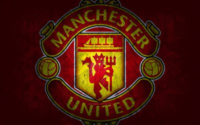 Manchester United FC, English football club, red stone background, Manchester United FC logo, grunge art, Premier League, football, England, Manchester United FC emblem