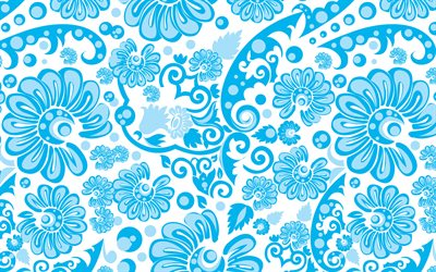 blue vintage background, vintage floral pattern, blue flowers, floral ornaments, background with ornaments, floral patterns, blue backgrounds