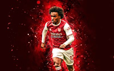 Willian, 4k, 2020, footballeurs brésiliens, Arsenal FC, Willian Borges da Silva, néons rouges, football, Premier League, Willian 4K, The Gunners, Willian Arsenal