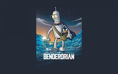 The Benderorian, Futurama, Benderorian character, blue background, Futurama characters