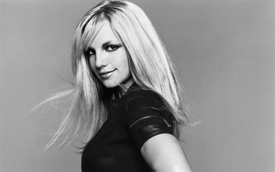 Britney Spears, American singer, 4k, portrait, monochrome, blonde, american celebrities