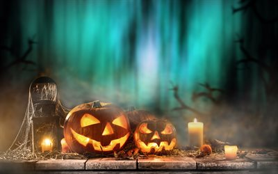 Halloween, pumpkins, night, forest, candles, October 31, autumn holidays