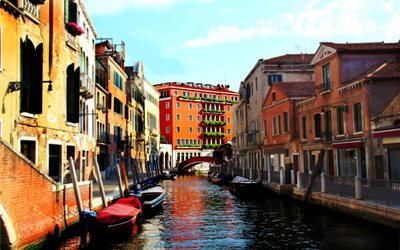 Venice, Italy, streets, canal, boats, old houses