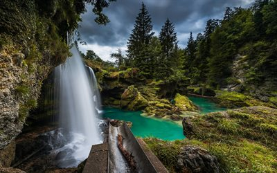 River Traun, Upper Austria, waterfall, mountain river, forest, mountain landscape, Austria