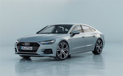 Audi A7 Sportback, 2018, 4k, front view, luxury 4-door coupe, new A7, gray color, German cars, Audi
