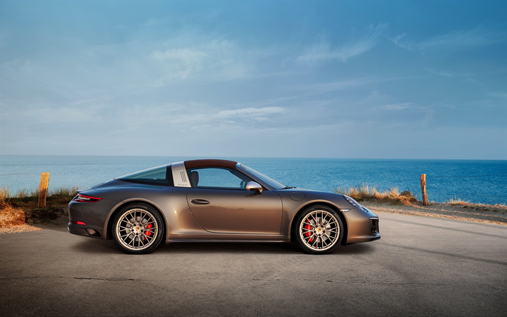 Download Wallpapers Porsche 911 Targa 4 Gts Exclusive Manufaktur Edition 2019 Side View Gray Sports Coupe Tuning Supercars Porsche For Desktop Free Pictures For Desktop Free