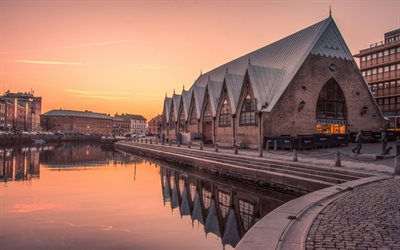 Gothenburg, Sweden, morning, sunrise, river, beautiful Swedish city, River of the Geats