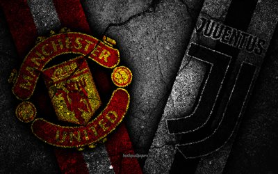 Manchester United vs Juventus, Champions League, Group Stage, Round 3, creative, Manchester United FC, Juventus FC, black stone