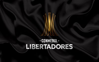 Copa Libertadores, 4k, logo, emblem, football tournament, black silk flag, silk texture, The CONMEBOL Libertadores, South America