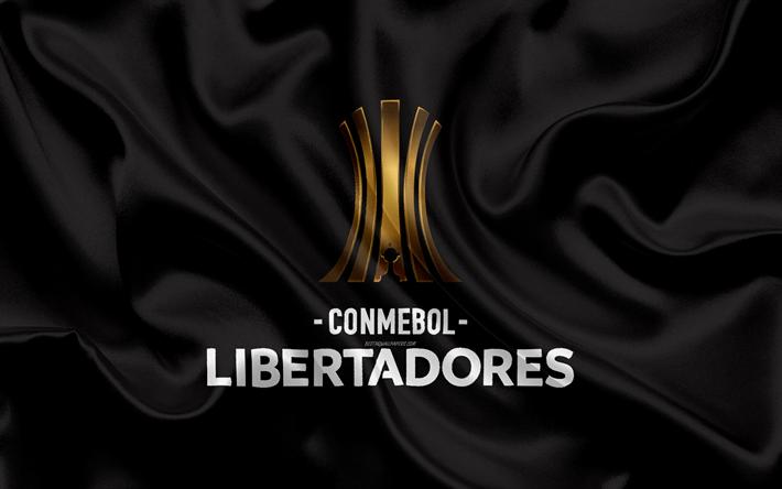 Descargar fondos de pantalla Copa Libertadores, 4k, logotipo, emblema,  torneo de fútbol, la negra bandera de seda, de seda, de la textura, La CONMEBOL  Libertadores, América del Sur libre. Imágenes fondos de