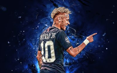 PSG FC, Neymar JR, goal, brazilian footballers, football stars, Ligue 1, artwork, Paris Saint-Germain, Neymar, neon lights, soccer