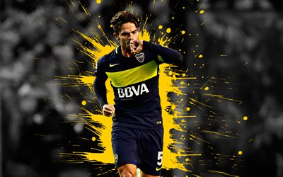 Fernando Gago, 4k, art, Boca Juniors, Argentine football player, midfielder, captain, splashes of paint, grunge art, creative art, Argentina, football