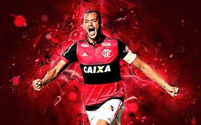 Rever, goal, brazilian footballers, Flamengo FC, soccer, Rever Humberto Alves Araujo, Brazilian Serie A, football, neon lights, abstract art, Brazil