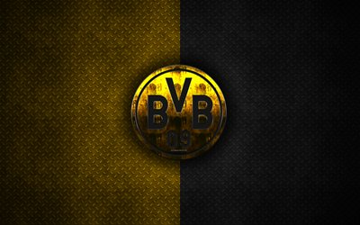 Borussia Dortmund, BVB, 4k, metal logo, creative art, German football club, Bundesliga, emblem, yellow black metal background, Dortmund, Germany, football